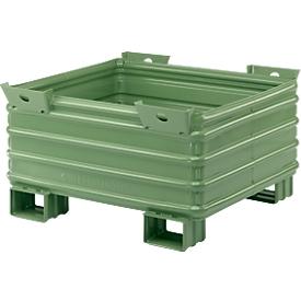 Transport-und Stapelbehälter Serie SG, m. Gabeltaschen, L 1200 x B 1000 x H 650 mm, lackiert