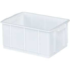 Transportbak, geschikt voor levensmiddelen, hoge-dichtheid polyethyleen (HDPE),L 460 x B 328 x H 202 mm, 23 liter, wit