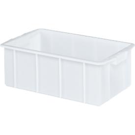 Transportbak, geschikt voor levensmiddelen, hoge-dichtheid polyethyleen (HDPE),L 660 x B 450 x H 225 mm, 50 liter, wit