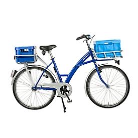 Transportfiets, 3 versnellingen, stalen frame, met voorwiellastdrager, verlichting, blauw RAL 5002