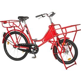 Transportfiets, stalen frame, met voorwiellastdrager, voorwielstaander, rood