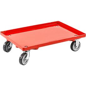 Transportroller, gesloten, L 415 x B 615 x H 175 mm, draagvermogen 300 kg, 4 zwenkwielen, rood