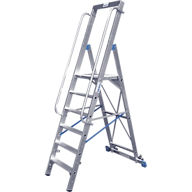 Trapladder, met groot platform, aluminium, met 4 treden