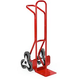 Trappensteekwagen, stalen, met 3 wielen in stervorm, B 430 x D 630 x H 1200 mm, draagvermogen 150 kg, rood