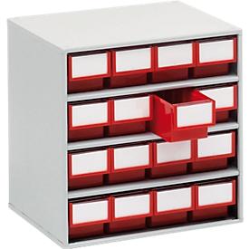 TRESTOn Schubladenmagazin 1630, 16 Schubladen, T 300 mm, rot