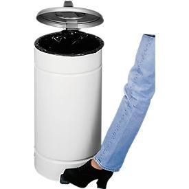 Tret Mülleimer Euro Pedal, für den Innenbereich, Volumen 60 l, Griff & Deckel, Ø 350 x H 700 mm, Stahlblech pulverbeschichtet & Kunststoff, elfenbein