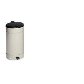 Tret Mülleimer Euro Pedal, für den Innenbereich, Volumen 60 l, mit Griff & Deckel, Ø 350 x H 700 mm, Edelstahl & Kunststoff, kieselgrau
