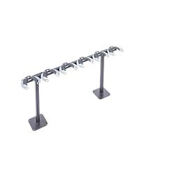 Tretrollerständer, 1-seitig, 6 Einstellplätze, mit Diebstahlschutz, B 1060 x T 175 x H 500 mm, Stahl pulverbeschichtet, anthrazit-schwarz, zum Aufdübeln