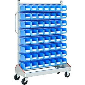 Trolley v. magazijnbakken, eenzijdig, b 1130 x d 510 x h 1705 mm, 56 x 3 l blauw