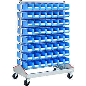 Trolley v. magazijnbakken, tweezijdig, B 1130 x D 710 x H 1705 mm, 112 x 3 l blauw