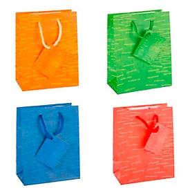 TSI geschenktasje Laura, klein, 11 x 6,5 x 14 cm, scheurvast, set van 12, 4 kleuren gesorteerd