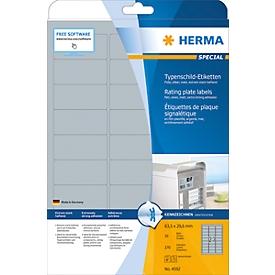 Typenschild Etiketten Herma, A4, 210 x 297 mm, selbstklebend & wetterfest, silber, 10 Stück