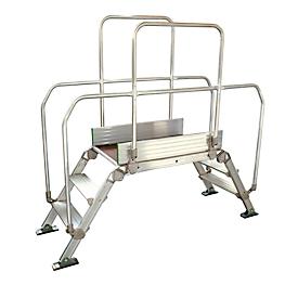 Überstieg Leiter Facal Diva, 60°-Winkel, 2-seitig mit Handlauf, Plattform L 900 x B 530 x H 1000 mm, bis 200 kg, 2+2 Stufen, Alu