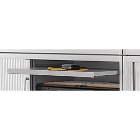 Uittrekbaar legbord TETRIS SOLID, voor kasten B 600 mm, van plaatstaal, gepoedercoat, blank aluminium