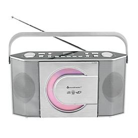 UKW Radio Soundmaster® RCD1755SI, CD/CD-R/CD-RW/CD-MP3, 5 Stationstasten & 10 Festsenderspeicher, Tragegriff, Netz- & Batteriebetrieb, silber