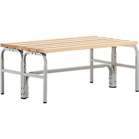 Umkleidebank, Stahlrohr/Holz, doppelt, L 1015 mm, lichtgrau