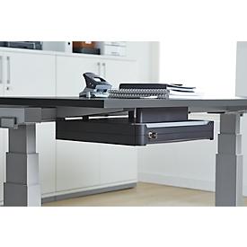 Unterbauschublade OrgaWork, Soft-Close-Einzug, abschließbar, B 430 x T 410 H 70 mm, schwarz