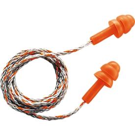 uvex gefluisterde oordopjes, maat M, SNR 23 dB, EN 352-2, met koord, 50 paar in kartonnen doos, oranje