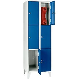 Vakkenkast 300 mm, 2 compartimenten, 6 vakken, veiligheidscilinderslot, poot, gentiaanblauw