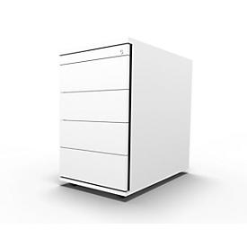 Vast ladeblok 13333, 1 materiaallade, afsluitbaar, 3 schuifladen, B 428 x D 800 x H 740 mm, wit