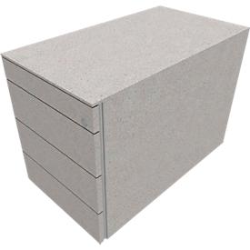 Vast ladeblok SOLUS PLAY, 1 materiaallade, 3 schuifladen, diepte 800 mm, zonder handgreep, ceramic grey