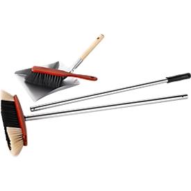 Veegset: bezem met alu-steel, verzinkt stalen veegblik en  handveger