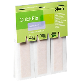 Vendas para dedos QuickFix Elastic Long, paquete de recambio con dispensador, transpirables, 6 x 30 piezas
