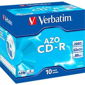 Verbatim CD-R, tot 52x, 700 MB/80 min, 10 JewelCases