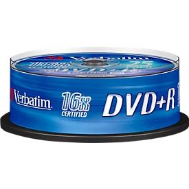 Verbatim® DVD+R, tot 16-voudig, 4,7 GB/120 min, spindel met 25 stuks