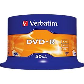 Verbatim® DVD-R, tot 16-voudig, 4,7 GB/120 min, spindel met 50 stuks