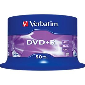 Verbatim® DVD+R, tot 16-voudig, 4,7 GB/120 min, spindel met 50 stuks