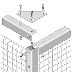 Verbindungswinkel, für Gittertrennwandsysteme, zur Stabilisierung, hellsilber