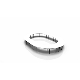 Vergadertafelsysteem IDEA, ovaal 20 plaatsen, B 4700 x D 6300 mm, wit/antraciet