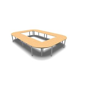 Vergadertafelsysteem IDEA, rechthoekig 16 plaatsen, B 3200 x D 4800 mm, beuk/aluminium