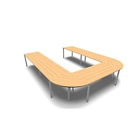 Vergadertafelsysteem IDEA, U-vorm 12 plaatsen, B 3200 x D 4000 mm, beuk/aluminium