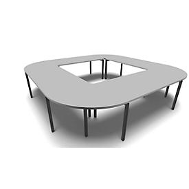 Vergadertafelsysteem IDEA, vierkant 12 plaatsen, B 3200 x D 3200 mm, lichtgrijs/antraciet