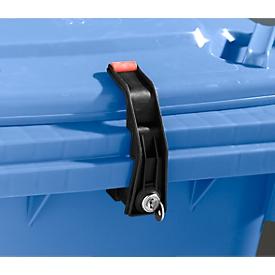 Vergrendeling voor afvalcontainers, met verschillende sleutels
