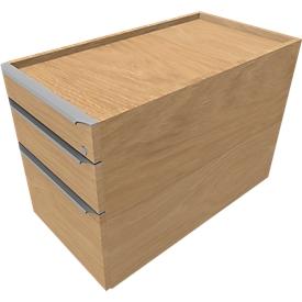 Verrijdbaar ladeblok QUANDOS BOX, 1 + 1 schuiflade, hangmappenlade, B 430 x D 800 x H 570 mm eik masonic