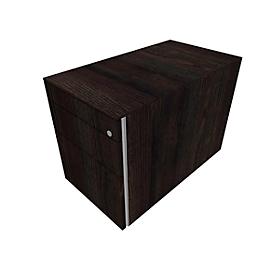 Verrijdbaar ladeblok SOLUS PLAY, 1 materiaallade, 1 schuiflade, 1 hangmappenlade, zonder handgreep, moeraseik