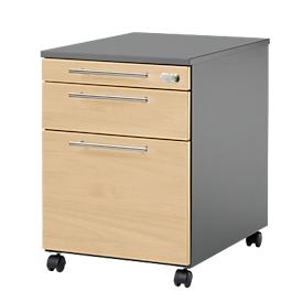 Verrijdbaar ladeblok Start UP 126, materiaal-, Hangmappenlade schuiflade, afsluitbaar, B 432 x D 580 x H 595 mm, grafiet/ahorn
