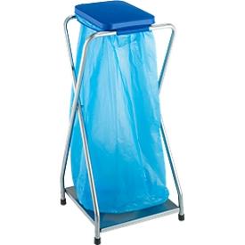 Verrijdbare afvalstandaard voor afvalzak van 70 liter, met blauw deksel