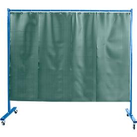 Verrijdbare beschermingswand met foliegordijn, 1-dlg., donkergroen