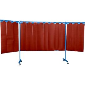 Verrijdbare beschermingswand met lamellen, 3-dlg., rood