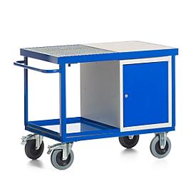 Verrijdbare compacte werktafel met stalen kast