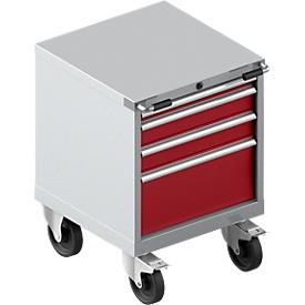 Verrijdbare gereedschapskast WSK 27-27, 4 laden, tot 75 kg, H 770 mm, individuele vergrendeling, staal, wit aluminium/rubberrood