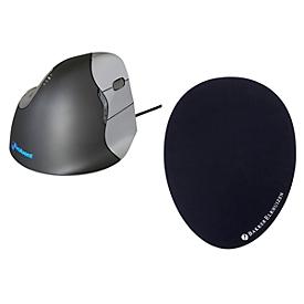 Vertikalmaus BakkerElkhuizen Evoluent4, kabelgebunden, f. Rechtshänder, schwarz/silber, + Mauspad The Egg