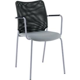 Vierpoot stoel Sun, met armleuningen, aluminium zilver/grijs