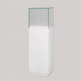 Vitrina de campana, vitrina de pie con zócalo blanco