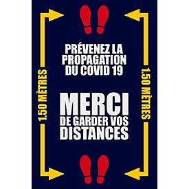 """Voetmat """"Afstand houden"""", polyamide/vinyl, L 1800 x B 1200 mm, blauw/geel/wit, Franse markering, met rode voetafdruk"""