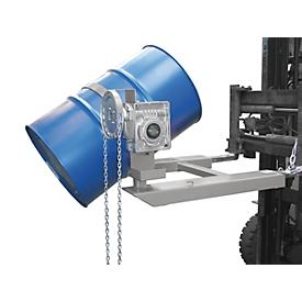 Volteador de barriles BAUER FD-K con cadena, acero, An 1100 x P 1245 x Al 610mm, blanco